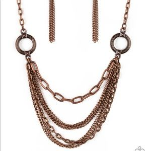 Copper layered shirt necklace with earrings